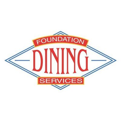 foundation dining services letters in red bordered by a blue frame