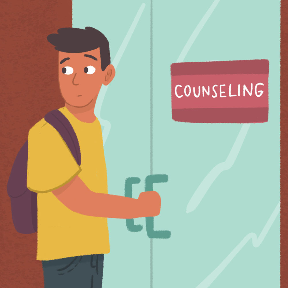 "Man who is entering a building with a sign that says ""counseling"" on it"