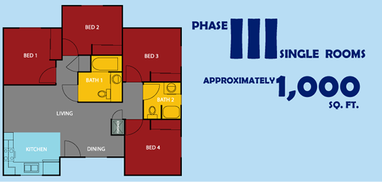 Phase 3 Single Rooms Approx. 1000 square feet