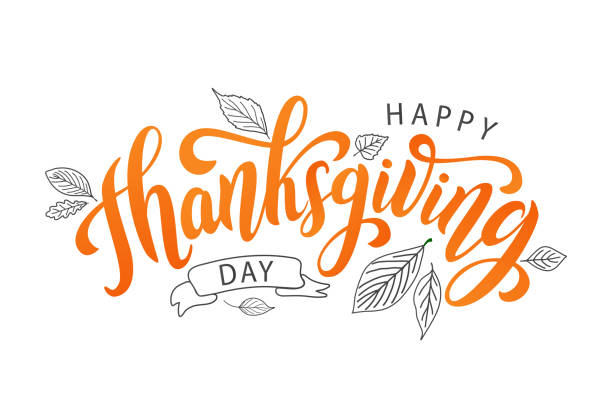 """Drawn leaves around the phrase """"happy thanksgiving day"""""""