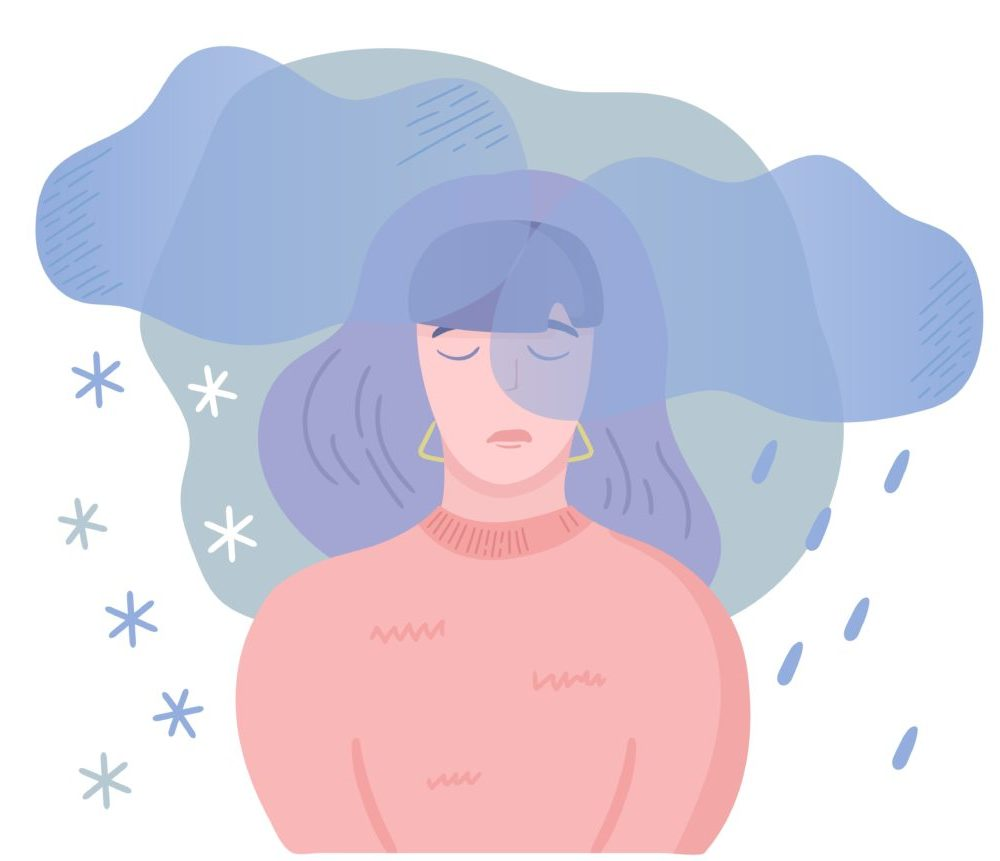 Woman in pink sweater with rain and snow clouds over her face