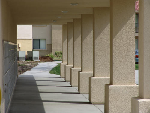 Recreation Center Exterior Hallway and Mailboxes